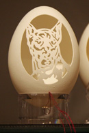 Close-up of one of the Egg Shell Carvings by Tina Kannapel
