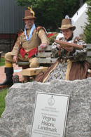 Historical reenactors in front of Occoquan Town Hall