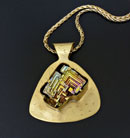 """Fractal Rainbow"" by Sherry Chaples – Brass and Iridescent Crystal Bismuth Pendant"