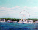 """Capital Wheel, National Harbor, MD"", 20 x 16, Acrylic on Paper"