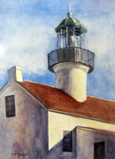 """Point Loma Lighthouse"" by Mary Rose Janya (Watercolor)"