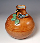 """Round Vase with Bird"" by Marianne Cordyack – Salt-fired Stoneware"