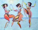 """The Three Graces in the 22nd Century"" by Roger Frey (Acrylic Painting)"