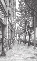 """A Street in Pittsburgh"", 14.5""x20"", Pencil"